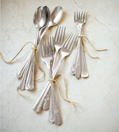 silverware wrapped with yarn