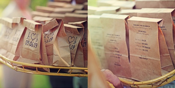 Toss Petals in Paper Bags Wedding Programs