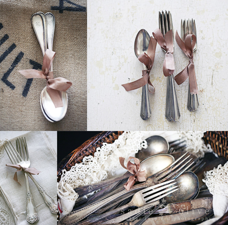 vintage silverware tied with ribbon