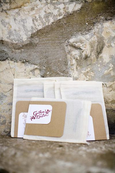 Wedding Programs Stamped Muslin Bags