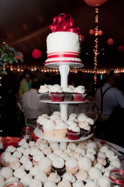red and orange cupcake display
