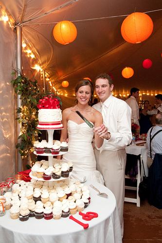 red and orange wedding cupcake tower