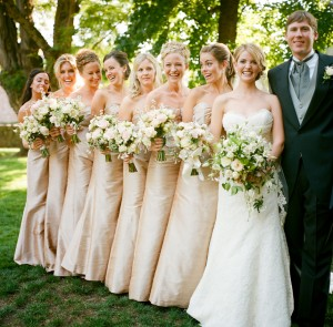 Bridesmaids in Champagne Dresses - Copyright A Bryan Photo - No unauthorized use without written permission
