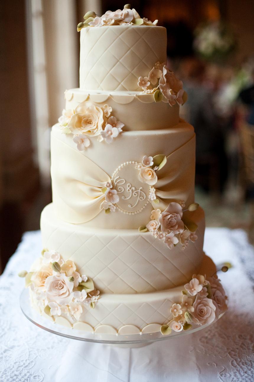 Classic Pink And White Wedding Cake Elizabeth Anne
