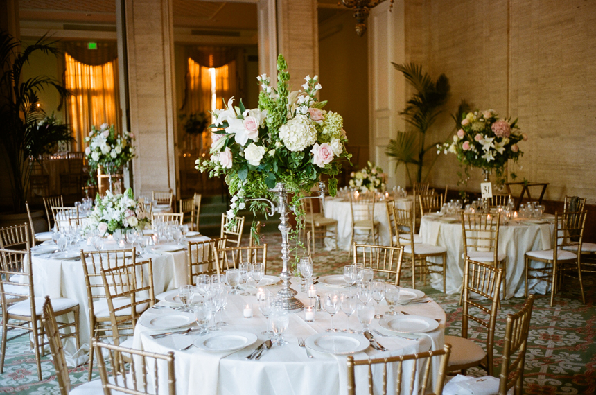 Lush Pink White Green Centerpieces
