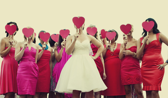 Pink Red Bridesmaids Dresses1