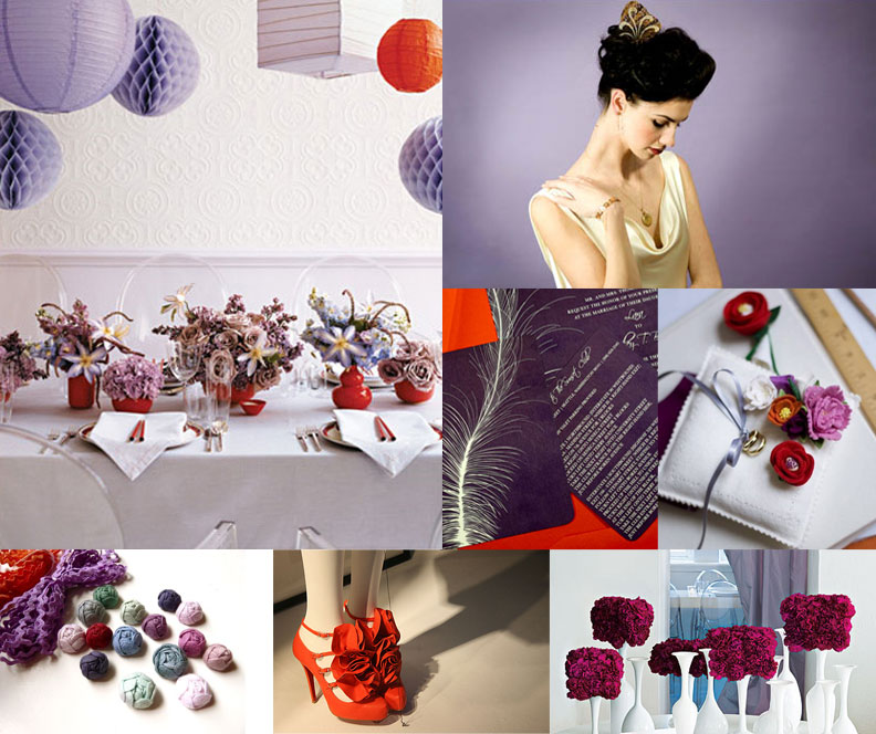 Whimsical Purple Red And Orange Wedding Inspiration Board And