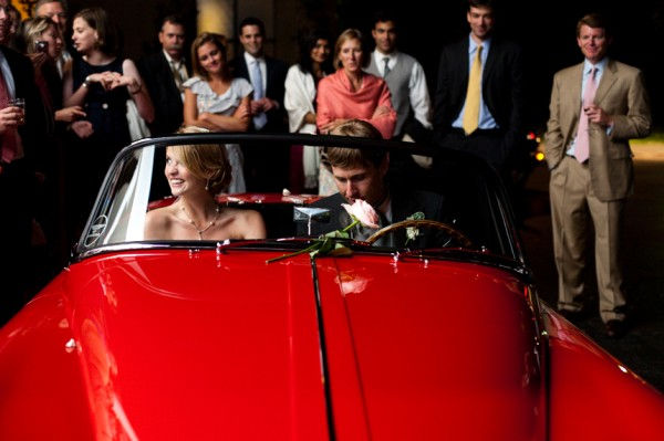 Red Jaguar Wedding Getaway Car - Copyright A Bryan Photo - No unauthorized use without written permission