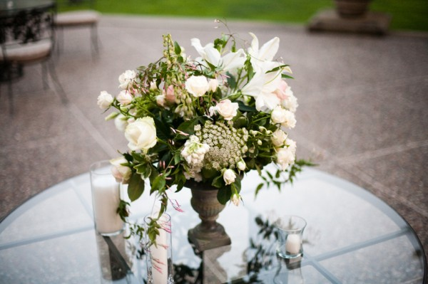 Rustic White Pink Green Centerpiece - Copyright A Bryan Photo - No unauthorized use without written permission