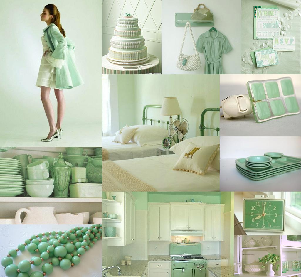 Retro Seafoam Mint Green And White Wedding Inspiration Board