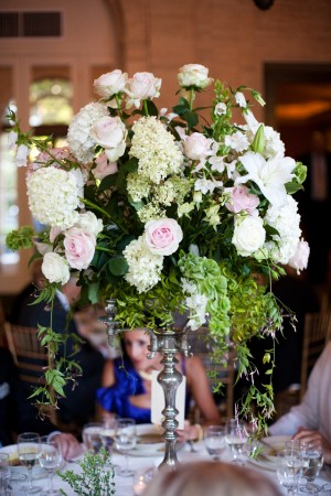 White and Pink Roses Tall Centerpiece - Copyright A Bryan Photo - No unauthorized use without written permission