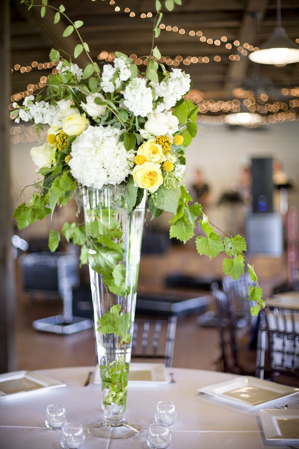 White Yellow Green Tall Centerpieces