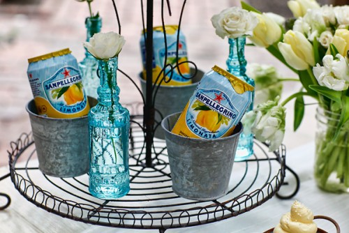 Blue and Yellow Drink Display
