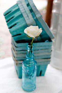 Single Flower in Blue Glass Vase