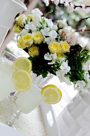 Yellow and White Drink Tray