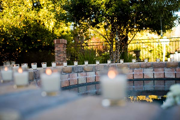 A poolside wedding and ready to party wedding day for Garden pool wedding