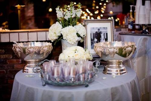 Blue Silver White Wedding Centerpieces Elizabeth Anne Designs The