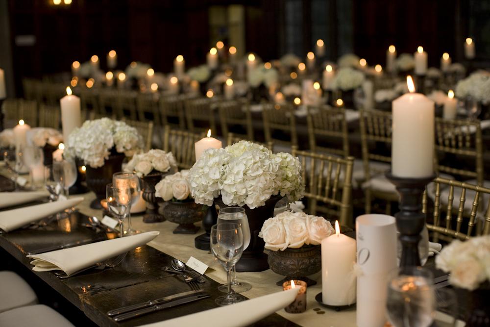 Centerpieces White Hydrangea And Candles Elizabeth Anne Designs
