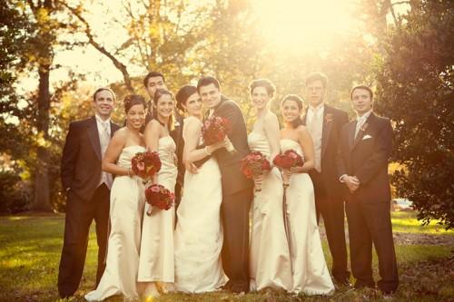 champagne-black-red-bridal-party-attire