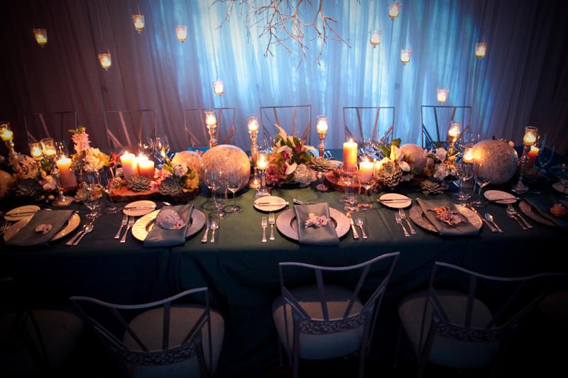 Modern ocean theme banquet table centerpiece elizabeth
