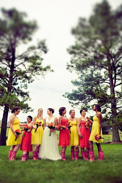 Pink And Yellow Bridesmaids Dresses