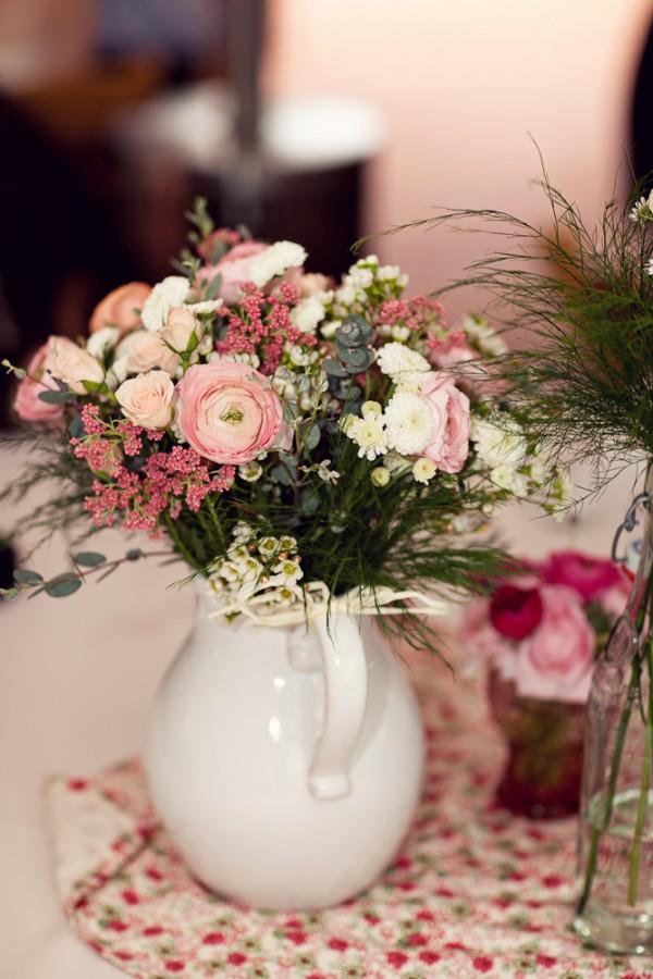Pink White Flowers In White Pitcher Wedding Centerpiece Ideas