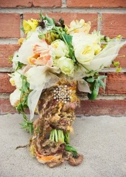 yellow-and-green-bouquet-tied-with-yarn