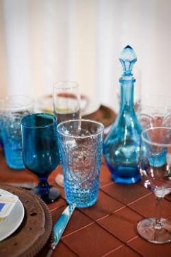 Blue Glass Details Wedding Tabletop Ideas