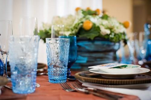 Blue and Orange Wedding Centerpiece Ideas