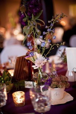 Blue and Purple Fall Centerpieces