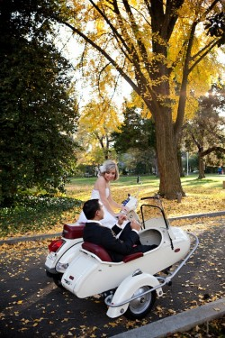 Bride and Groom in Scooter