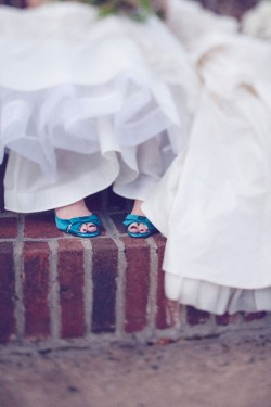 Bride in Teal Shoes