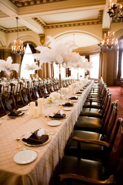 Brown and Gold Wedding Table Feather Centerpieces
