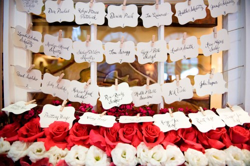 Calligraphy Escort Cards with Bed of Roses