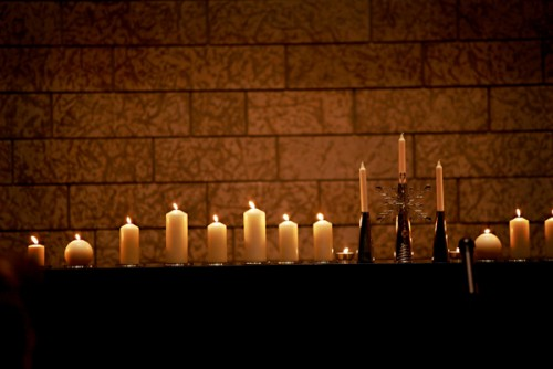 Candles Lining Mantel