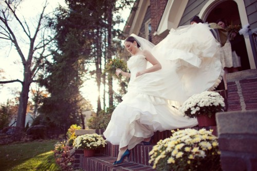 Classic Bride in Blue Shoes