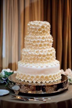 Cream and White Sugar Flower Wedding Cake