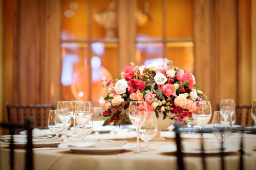 Elegant Pink and Gold Wedding Reception