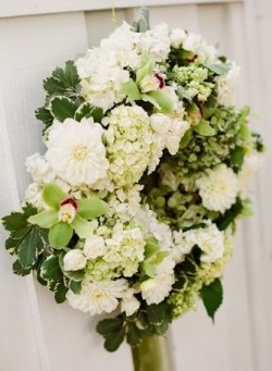 Fluffy White and Green Wedding Wreath