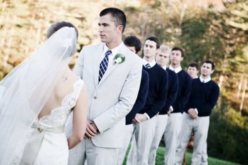 Groomsmen in Navy Sweaters and Khakis