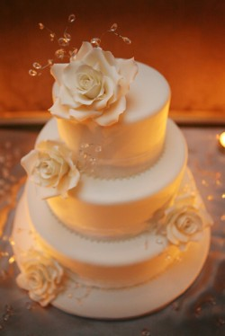 Ivory Wedding Cake Rose and Crystal Accents