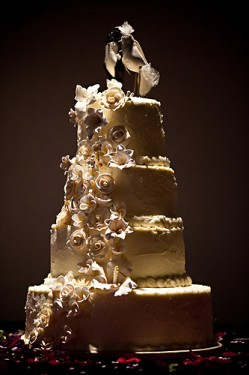 Ivory Wedding Cake with Cascading Flowers