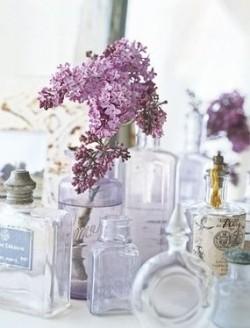 Lilac and Lavender Flowers in Vintage Jars