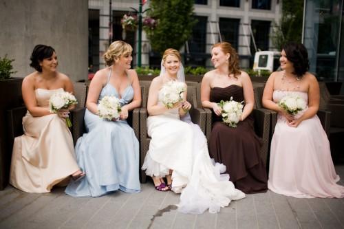 Mismatched Pastel Bridesmaids