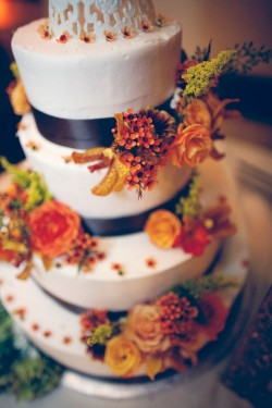 Orange and Brown Fall Wedding Cake