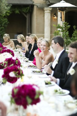 Outdoor Wedding with Purple Centerpieces