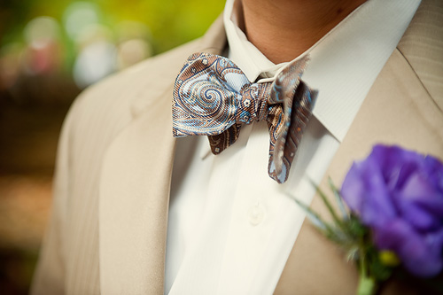 Paisley Bowtie and Purple Boutonniere
