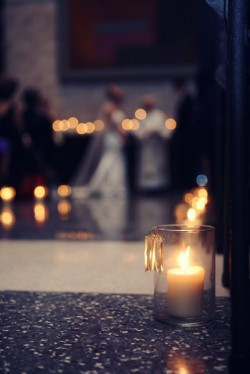 Pillar Candles in Ceremony Aisle