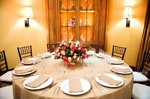 Pink and Gold Wedding Reception Table