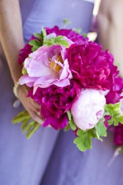Purple Bridesmaids Dresses Hot Pink Bouquets